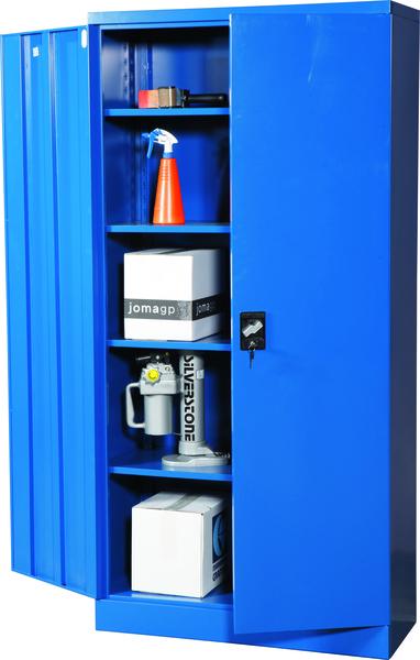 Knock-down skåp med fyra hyllplan, blå/grå, omonterad