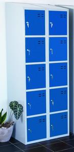 Kläd- och förvaringsskåp med 10 fack, Blå