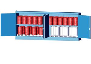 Kemikalieförråd inkl. fatskyddspall 2200 L, brandskyddad
