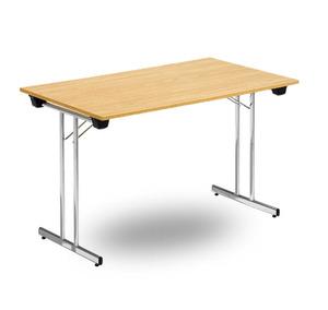 Fällbart skrivbord, FLITIG 1200 x 700 x 730, Krom/Ek