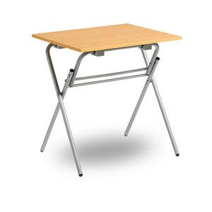 Fällbart skrivbord, Examen, silvergrå/ek