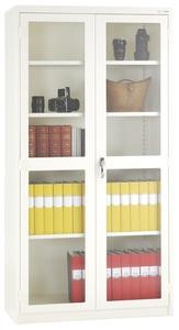 Förvaringsskåp dubbeldörrar, härdat glas, H: 1975