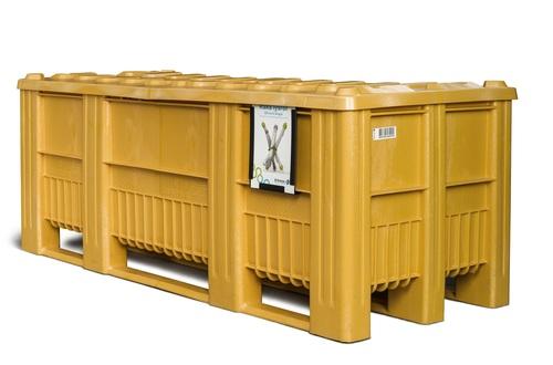 Plastcontainer för lysrör, med lock
