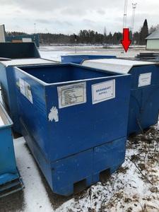 Begagnad Bottentömmande container med lock 1500x1000x1400mm