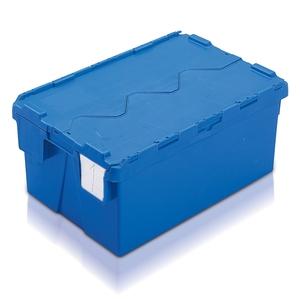 Plastlåda 48L, konisk med tvådelat lock, 400x600x264, blå