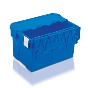 Plastlåda 65L, konisk med tvådelat lock, 400x600x365, blå