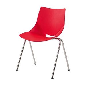 Stol Shell/V-Stativ, Röd/Krom