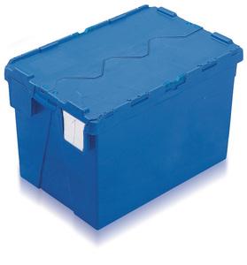 Plastlåda 70L, konisk med tvådelat lock, 400x600x400, blå