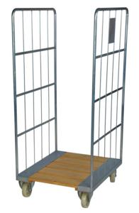 Rullcontainer, träbotten, 800x710x1600 mm, Elförzinkad