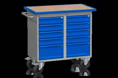 Verkstadsbord på hjul   10 lådor