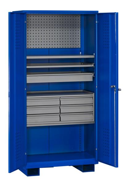 Verkstadsskåp med kapacitet 500 kg, blå