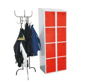 Kläd- och förvaringsskåp med 8 fack, Röd