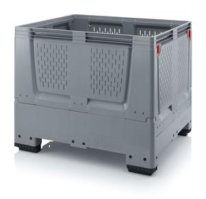 Fällbar plastcontainer med ventilation, stor | 4 fötter