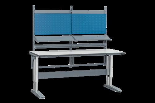 Höj- och sänkbart arbetsbord med hyllor och verktygspanel | 375kg