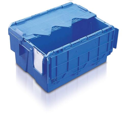 Plastlåda, konisk med tvådelat lock, blå