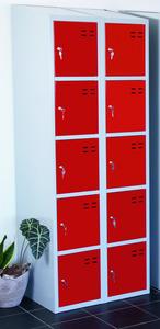 Kläd- och förvaringsskåp med 10 fack, Röd