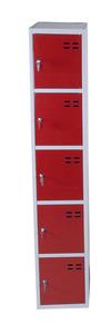 Kläd- och förvaringsskåp med 5 fack, Röd