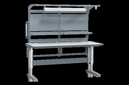 Höj och sänkbart arbetsbord med belysning, verktygspanel, eluttag & hyllor | 375kg