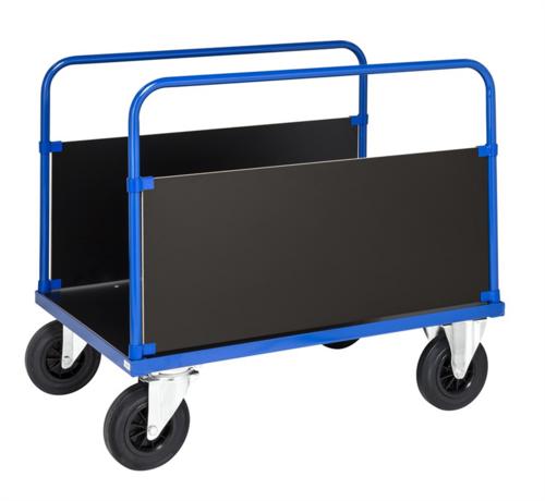 Plattformsvagn med höga gavlar, blå