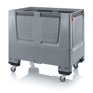 Fällbar plastcontainer med ventilation, liten | 4 hjul