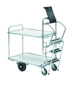 Rullvagn med stege 1250x620 2 hyllor