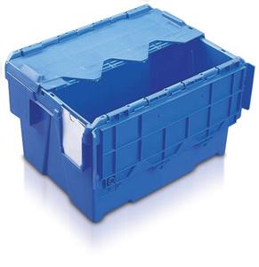 Plastlåda 22L, konisk med tvådelat lock, 400x300x264, blå