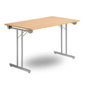 Fällbart skrivbord, FLITIG 1200 x 700 x 730, Silvergrå/Björk