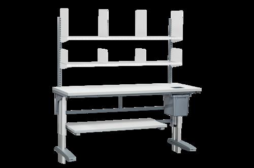 Höj- och sänkbart arbetsbord med hyllor & papperskorg | 375kg