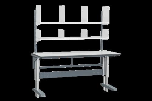 Höj- och sänkbart arbetsbord med hyllor & hyllavdelare | 375kg