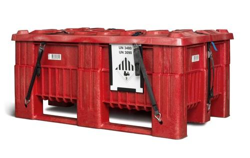 UN-godkänd batteribox med lock och spännband