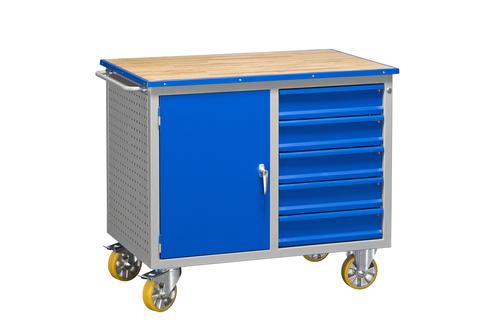 Verkstadsbänk på hjul med verktygspanel | Skåp & lådor