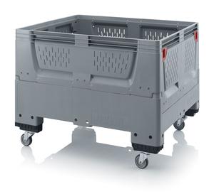 Fällbar plastcontainer med ventilation, mellan | 4 hjul