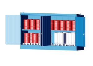 Kemikalieförråd inkl. fatskyddspall 1700 L, brandskyddad