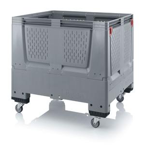 Fällbar plastcontainer med ventilation, stor | 4 hjul