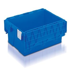 Plastlåda 54L, konisk med tvådelat lock, 400x600x306, blå