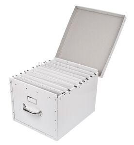 Mobil arkivbox mega, med lock, A4, Vit