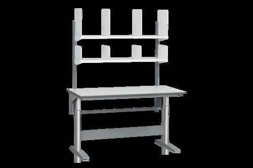Höj- och sänkbart arbetsbord med hyllor & hyllavdelare   250kg