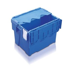 Plastlåda 25L, konisk med tvådelat lock, 400x300x306, blå
