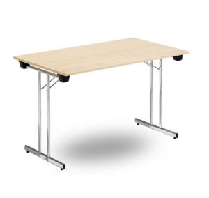 Fällbart skrivbord, FLITIG 1200 x 700 x 730, Krom/Björk